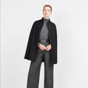 Zara Black Wool Blend Faux Leather Trim Cape Coat